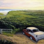 Peinture par Jay Jensen, Old car by the seaside