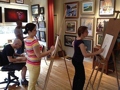 Classe de dessin à l'Atelier de la Galerie Vanasse