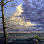 Jay Jensen, painting of a stormy sky and tree