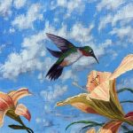 Jay Jensen, painting of a hummingbird and daylilies