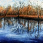 "Jay Jensen, ""Tranquil Pond at Sunset"", huile sur toile/oil on canvas, 24×30 po/in"