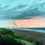 Jay Jensen, « Stormy Ocracoke Morning », huile sur toile/oil on canvas, 20×24 po/in