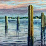 "Jay Jensen, ""Ocracoke Pilons"", huile sur toile/oil on canvas, 20×24 po/in"