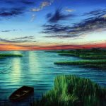 "Jay Jensen, ""Ocracoke Marsh Sunset"", huile sur toile/oil on canvas, 24×26 po/in"