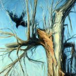 "Jay Jensen, Autumn Crows"", huie sur toile/oil on canvas, 30×20 po/in"