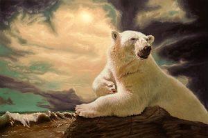 Peinture d'un ours polaire par Eric Vanasse, huile sur toile