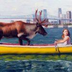 "Eric Vanasse, ""Losing Eden 2"", oil on canvas, 12×24 in"