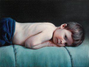 Peinture d'enfant allongé par Eric Vanasse