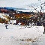 Pierre Tougas, L'hiver en Estrie (Watercolour 15 x 30 in / 38 x76 cm)