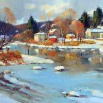 Pierre Tougas, Soleil de décembre en Estrie (Oil 12 x 24 in / 31 x 61 cm)