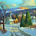 Pierre Tougas, Lumière du matin, Baie-St-Paul (Huile 12 x 16 po/ 31 x 41 cm)