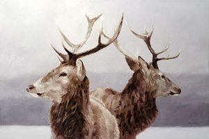 peinture de deux chevreuils par Eric Vanasse