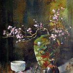 Pierre Tougas, Raku et fleurs de cerisier (aquarelle 20 x 14 po/ 51x 30 cm)