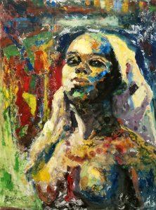 Peinture par Pierre Brault, Jeune africaine