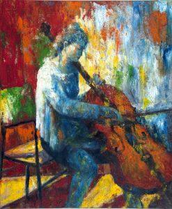 Peinture par Pierre Brault, la violoncelliste